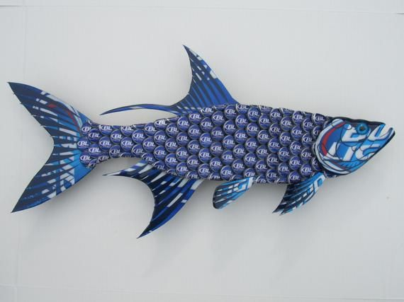 Fish Wall Art Made With Bud Light Bottlecap Tarpon Fish Beer Cap Art Bottle Cap Art Bottle Cap