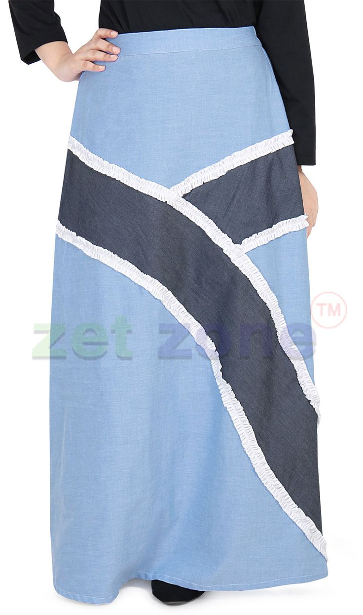 Long Cotton Skirt by Zet Zone     Get a feminine and unique look by wearing this ice blue skirt for women from Zet Zone. Made from cotton, this skirt is comfortable to wear and versatile. You can team this skirt with a top and matching accessory to look fabulous.
