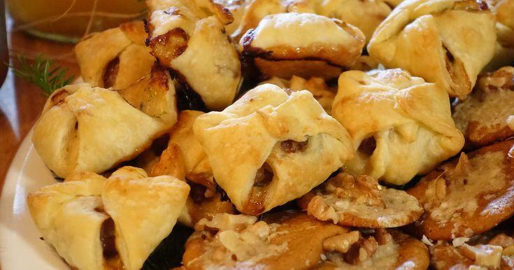 Underbara smördegssnittar med oliver, getost, rosmarin och lufttorkad skinka. Ernsts recept gör garanterat succé på glöggminglet!
