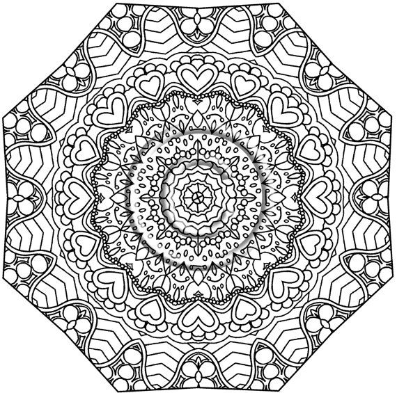 instant pdf download coloring page hand drawn zentangle inspired squiggles kaleidoscope mandala zendoodle by kat - Art Therapy Coloring Pages Mandala