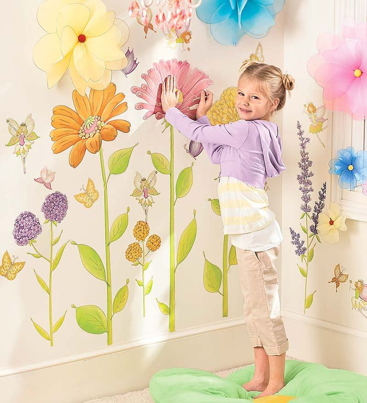 Set of 42 Assorted Fairy Garden Hand Drawn Decorative Wall Stickers. Made in USA. perfect for my DD fairy themed room