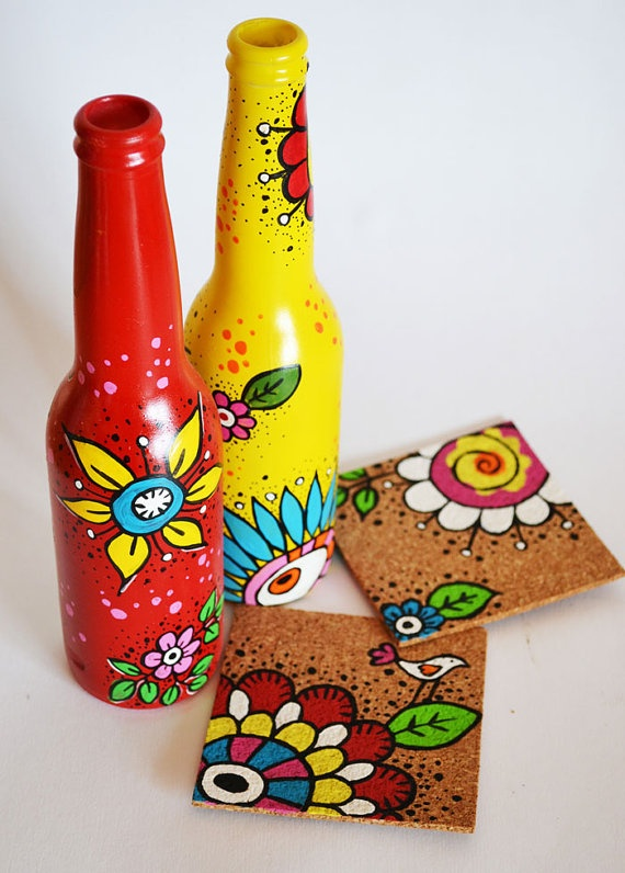 painted bottles with same theme coasters!