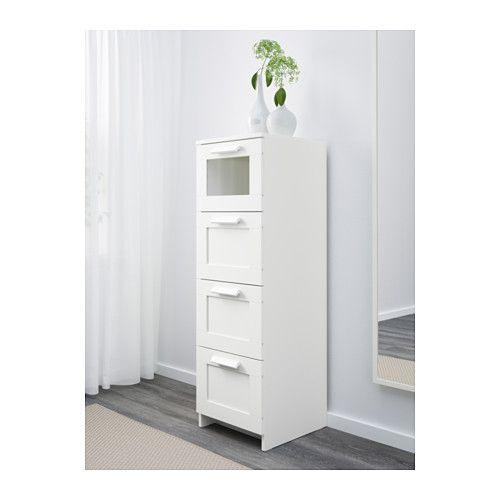 BRIMNES Cassettiera con 4 cassetti - bianco/vetro smerigliato - IKEA