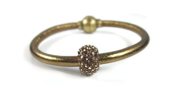 Antique Gold Leather Bracelet Womens by RealLeatherBracelets