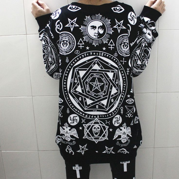 Fashion HARAJUKU killstar five pointed star hexagram skull geometrypunk hip hop women loose long sleeve shirt sweatshirt men top-inT-Shirts from Women's Clothing & Accessories on Aliexpress.com | Alibaba Group