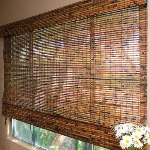 Blinds.com Brand Budget Woven Wood Shades in Jamaica Walnut. Choose between a variety of rich textures and colors that will add natural warmth for an affordable price.