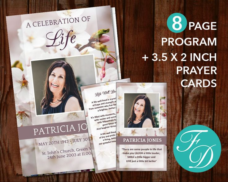 Funeral program template Set - 8 Page Program plus Prayer card, memorial program, prayer card, funeral template, funeral printable, floral by FuneralDesigns on Etsy