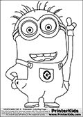 Coloring page with a Minion from Despicable Me and Despicable Me 2. This coloring page for printing show a Despicable Me Minion pointing upwards with the left hand. Print and color this Despicable Me page that is drawn by Loke Hansen (http://www.LokeHansen.com) based on an image found online from one of the two movies.