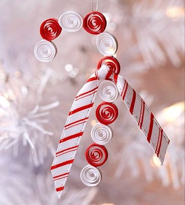 Quilled Candy Cane  As you get the hang of quilling, try more advanced projects, such as this candy cane. Adhere tiny, spiraled strips of paper together to form a candy cane shape, and embellish with ribbon.