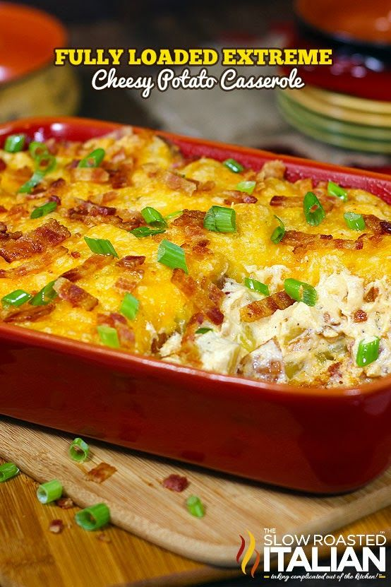 Fully Loaded Extreme Cheesy Potato Casserole #sidedishes #potatoes #casseroles CLICK HERE FOR RECIPE --> http://www.theslowroasteditalian.com/2013/09/fully-loaded-extreme-cheesy-potato-casserole-recipe.html