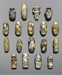 Japanese ojime beads with silver , copper and bronze details , Meiji