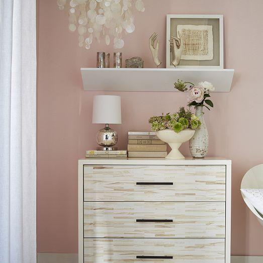 Floating Wedge Shelf White Dresser as nightstand