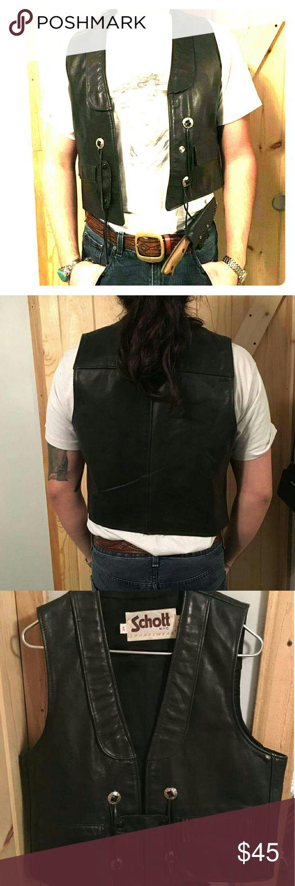 Schott Leather Vest Vintage Leather Schott Vest, in used condition with added character! Schott Jackets & Coats Vests