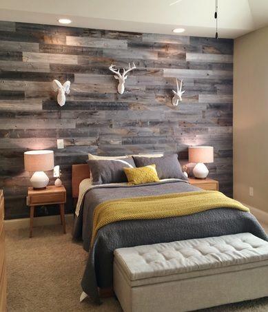 Bedroom wall reclaimed wood paneling