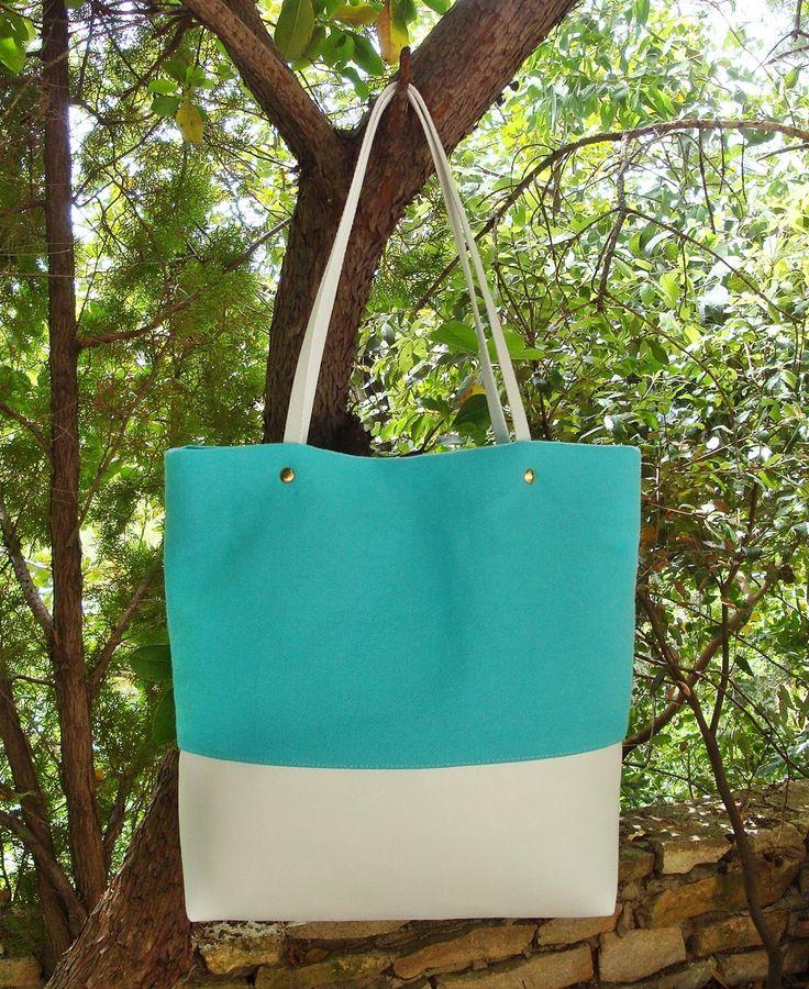 Shopping bag Borsa turchese in tela con fondo bianco in sky nautico con manici vera pelle Tote bag Borsa donna Summer bag Made in Italy di LoomaHandmade su Etsy