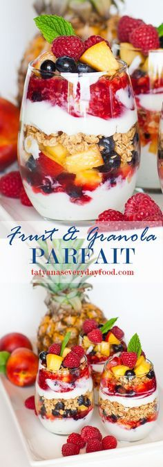 This delicious granola and fruit parfait is made with plain Greek yogurt, raspberry sauce, tons of fresh fruit and crunchy granola!