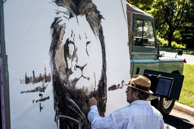 """Artist Mark Balma painted a huge mural of Cecil in Dr. Walter Palmer's parking lot. Bala went to school here in the Twin Cities and was visiting friends when he decided to come down for a """"silent protest"""" He also painted the frescoes at the University of St. Thomas Law School. He hopes to see the painting to raise money for wildlife preservation efforts."""