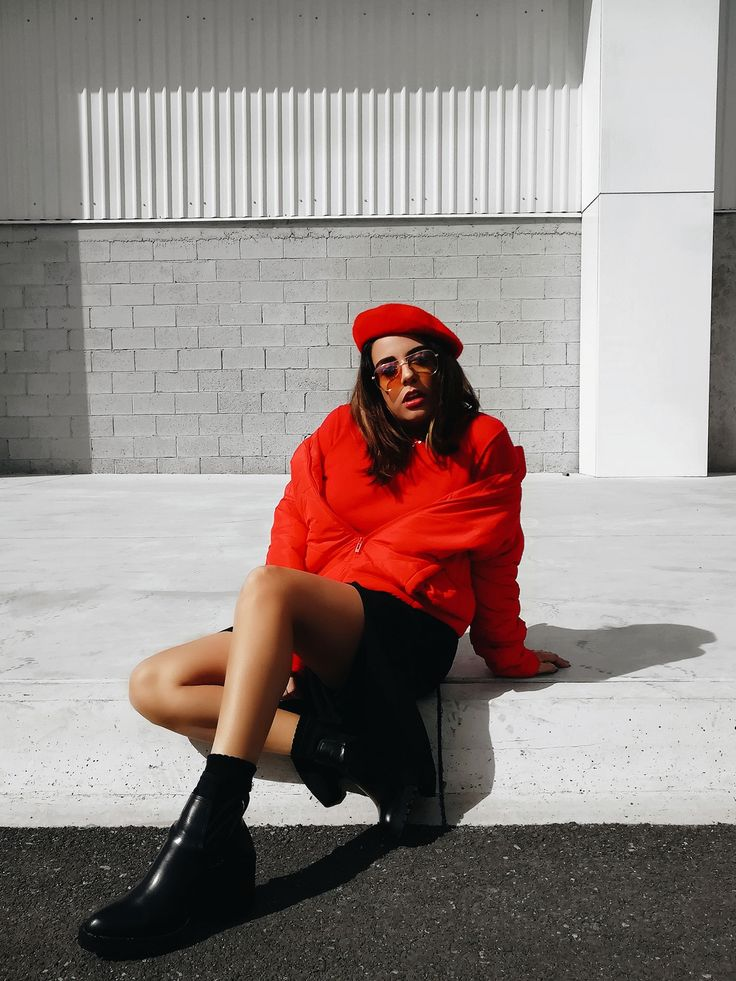 why you should wear a red puffer coat