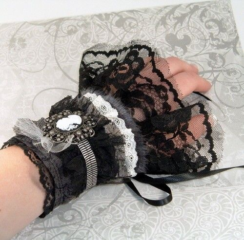 Steampunk Cuffs Cream Lace Black Floral Fabric by SeamsVictorian, $45.00