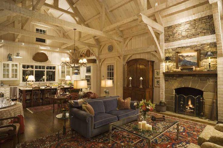 : Decor, Ideas, Living Rooms, Dreams, Barns Houses, Beams, Timber Frames, Design, Logs Home