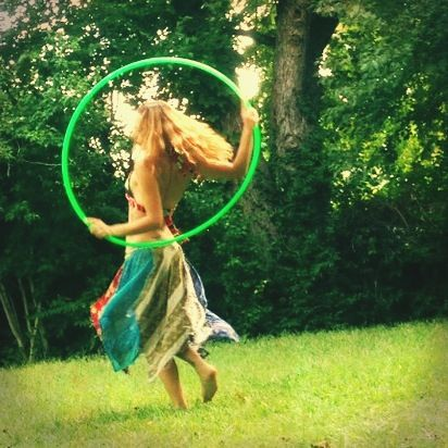 Hula hooping in a Pink Floyd hole.