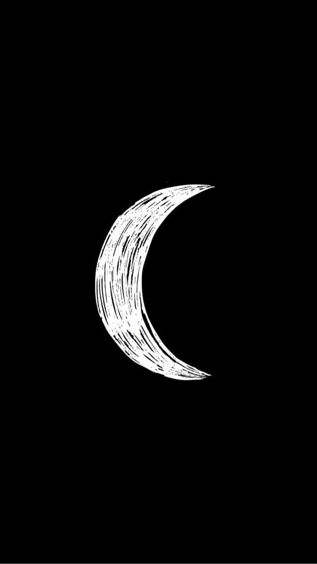 Black and white, dark, cool, moon, crescent, phone, iphone