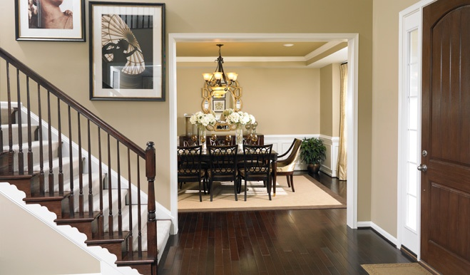 Rich dark hardwoods make a statement in this Warwick, PA entryway and dining room.