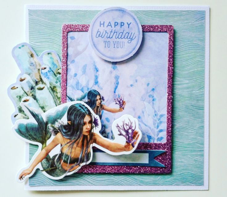 """This Month's paper collection """"Mermaid Tails"""" matches beautifully with thenew Kaisercraft Glitter Card Stock. With 20 rich, jewel-bright colours to choose from, the Glitter Car…"""