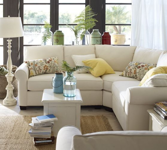 Buchanan Curved 3-Piece Small Sectional with Wedge | Pottery Barn | Coastal Style | Pinterest | Small sectional Pottery and Wedges : pb comfort sectional - Sectionals, Sofas & Couches