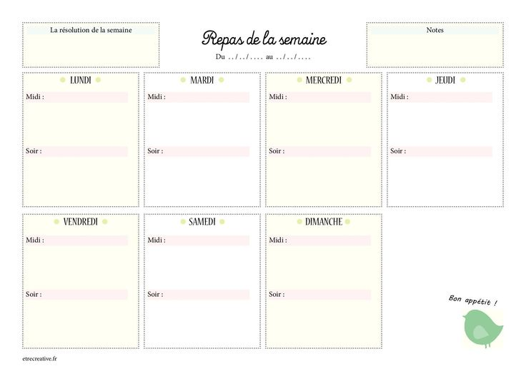 Mod le de menu de la semaine imprimer planning de repas - Idee repas midi bureau ...