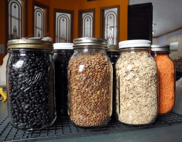Oven Canning Dry Beans | Black beans, brown lentils, oats, red lentils