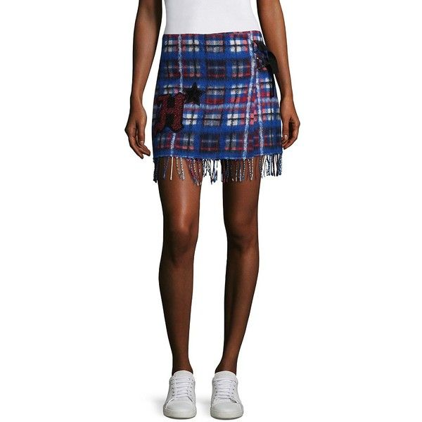 Tommy Hilfiger Collection Tartan Fringe Mini Skirt ($248) ❤ liked on Polyvore featuring skirts, mini skirts, wrap mini skirt, plaid miniskirts, short plaid mini skirt, white mini skirt and long wrap skirt