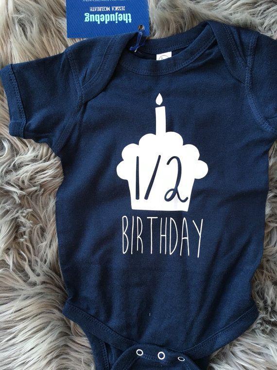 Half Birthday Boy Onesie® 6 month Birthday Onesie® by TheJudeBug