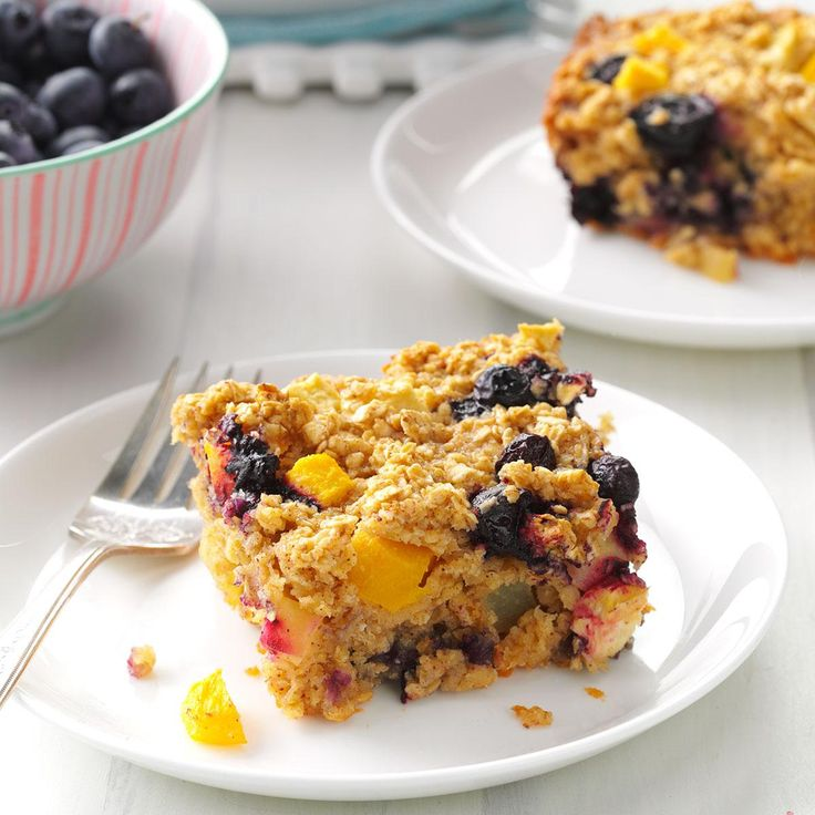 """Fruity Baked Oatmeal Recipe -""""This is my husband's favorite breakfast treat and the ultimate comfort food,"""" writes Karen Schroeder from Kankakee, Illinois. """"It's warm, filling and always a hit when I serve it to guests."""""""