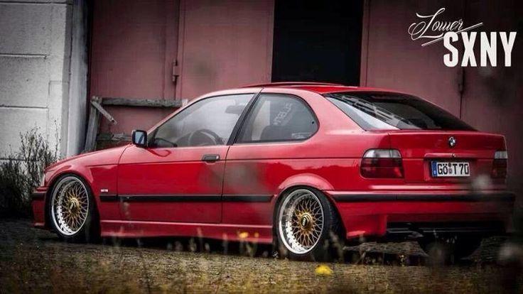 Brillantrot BMW E36 compact on OEM BMW Styling 5 wheels (BBS RC)