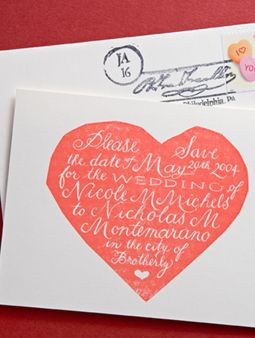 Hand-drawn, via Bird and Banner but wouldn't it be awesome to have a stamp done up for you like this and use that as the save the dates? WAY cheaper (just ink, some nice paper and a stamp!) and probably more adorable!