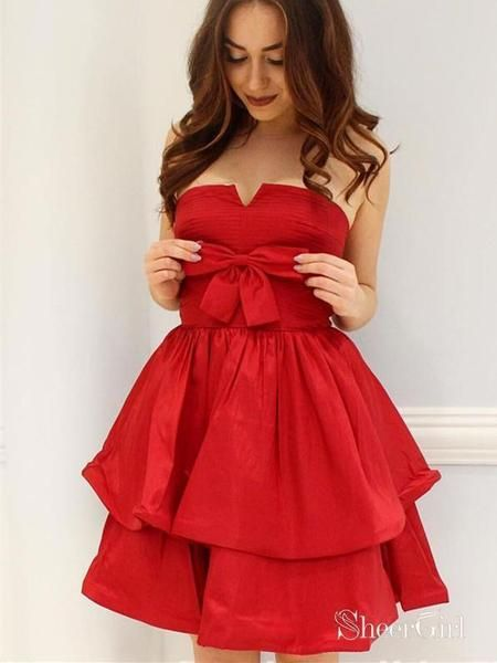 4a957d88f4 Strapless Taffeta Cute Homecoming Dresses with Bow Cheap Short Homecom –  SheerGirl