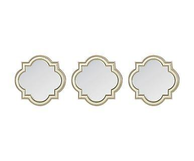 Set van 3 spiegels Hellen, champagne, 25x25 cm