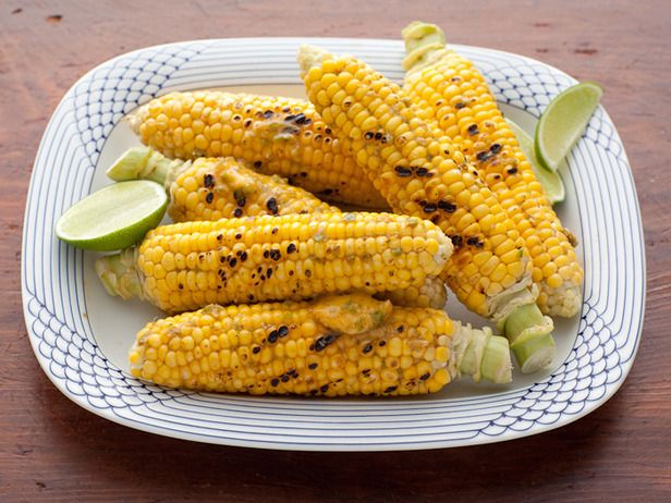 Rachael's Jalapeno-Lime Corn : Rachael Ray rubs this Mexican-style grilled corn with