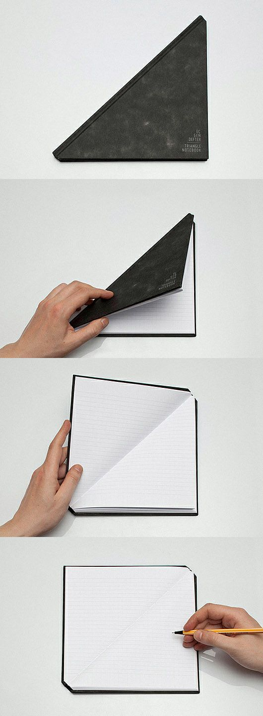 素敵なデザイン!ありそうでなかった、斜め開き三角のノート★The Triangle Notebook by Tan Mavitan (http://designcloud.tumblr.com/post/19264440813/the-triangle-notebook-by-tan-mavitan-designed-by )