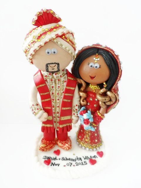 African American Bride with her Indian Groom. NOT edible, a lifetime keepsake of the big day, I send my work anywhere in the world and make them to look like you in any outfits or poses you want.