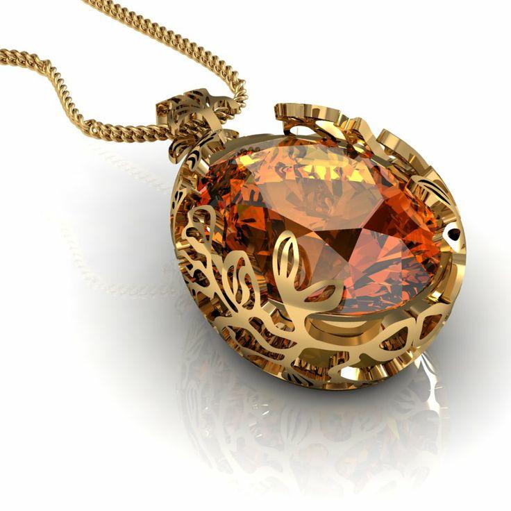 citrin gold pendant