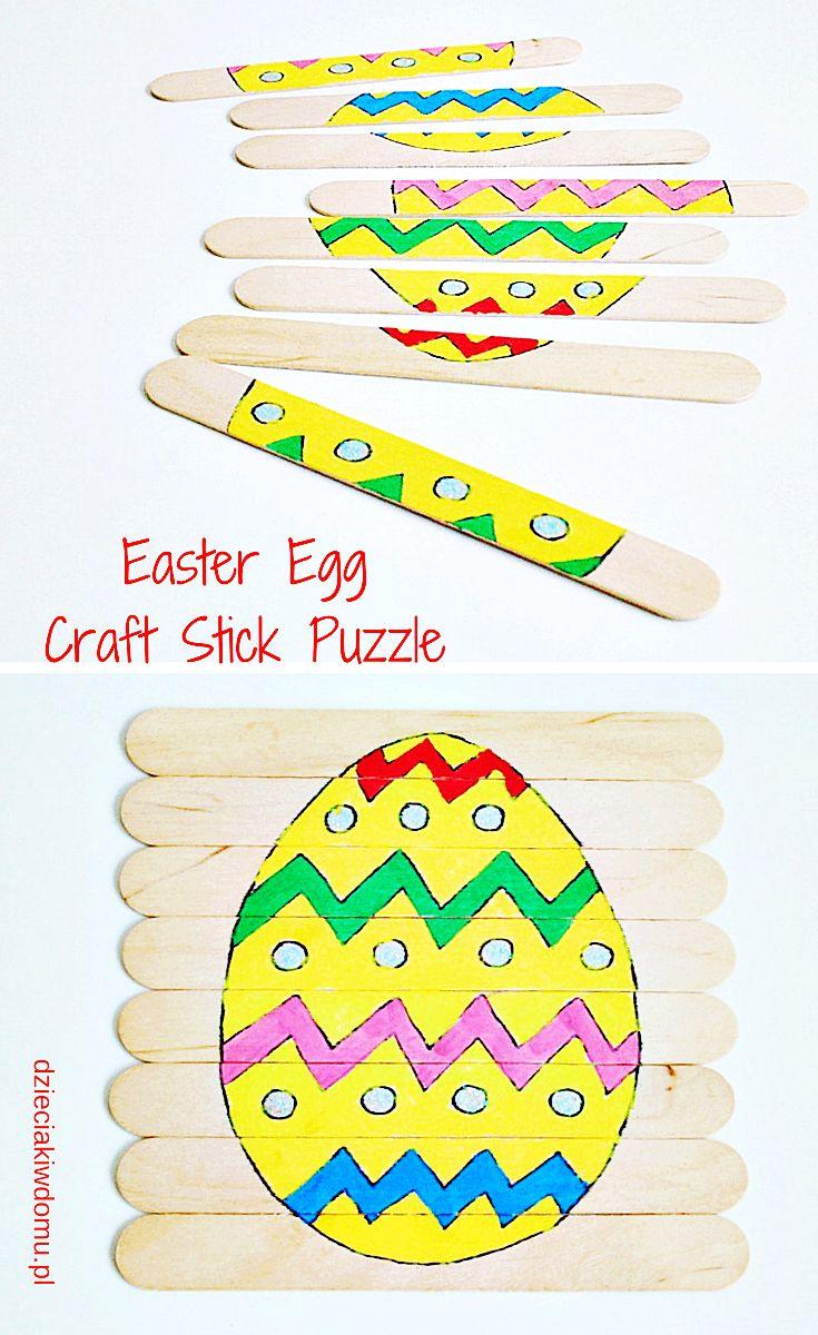easter egg craft stick puzzle / wielkanocne puzzle z drewnianych szpatułek  #eastercrafts