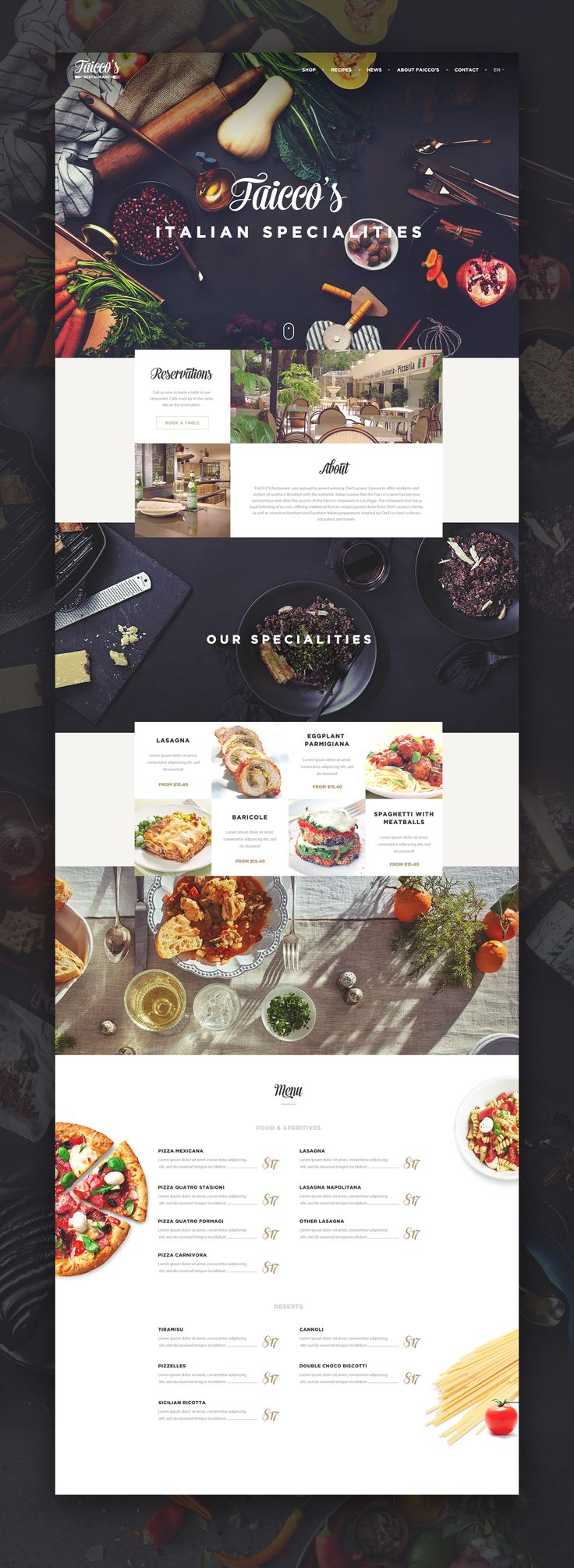 Faicco's italian Restaurant website restyling. Ui design concept by Virgil Pana on Dribbble.