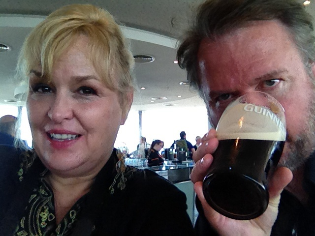 Being silly at the Gravity Bar, on the top of the Guinness Brewery.