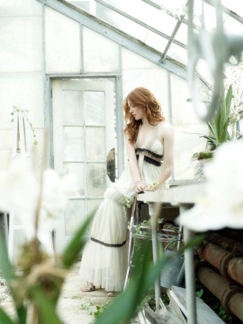 white dress, black trims