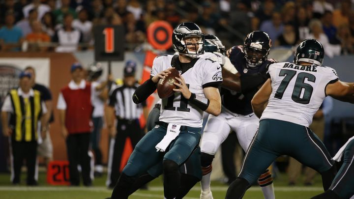 Philadelphia Eagles quarterback Carson Wentz looks for a receiver during the first half against the Chicago Bears on Monday.