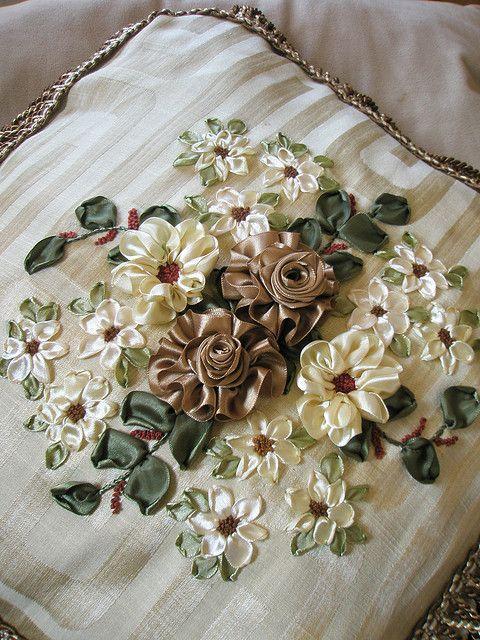 ribbon needlework | Ribbon embroidery on cushion cover | Flickr - Photo Sharing!