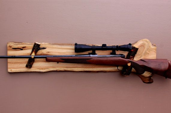Long Gun Display Rack- A-72 Aspen Backing with pine rests .  Fits rifles and muzzle-loader rifles. Wall mount.