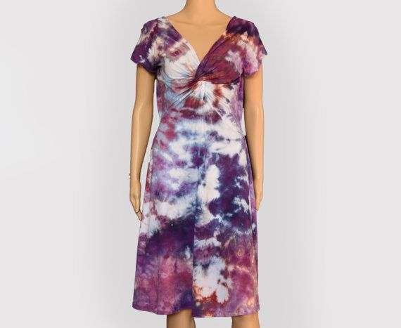 Purple Pink Blue Spiral Tie Dye Dress  Twisted by LeslieKayColor